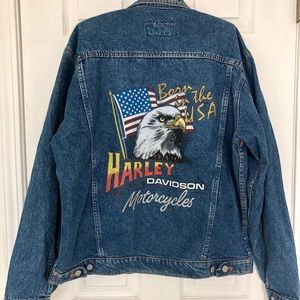 Harley Davidson Denim Motorcycle Jacket L